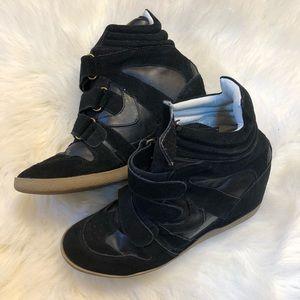 Steve Madden black hightop wedge sneakers